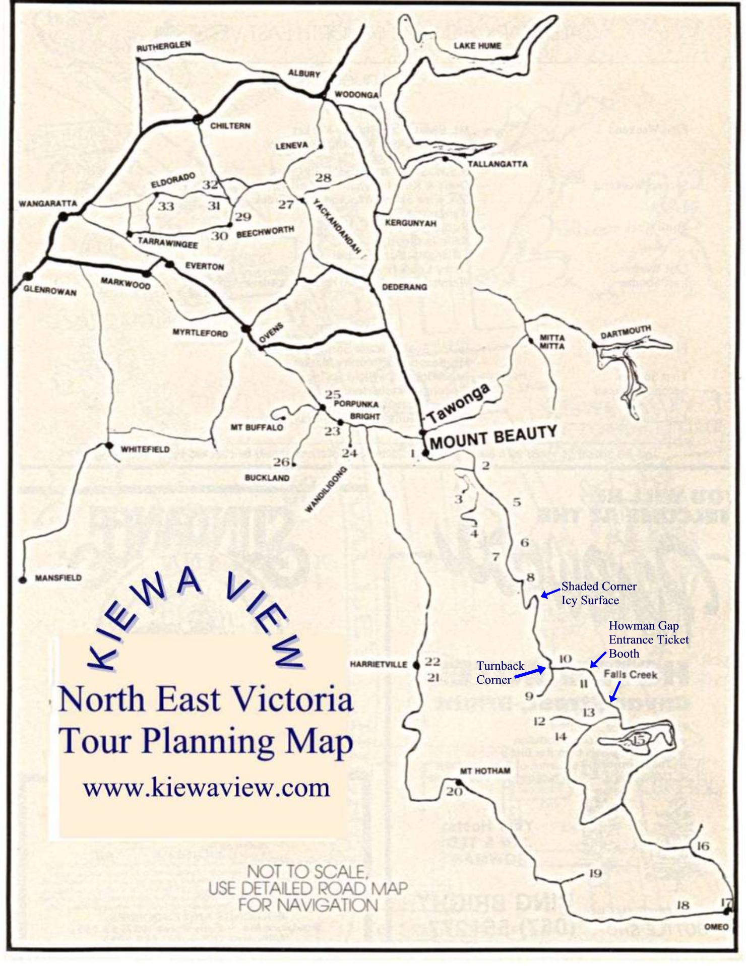 North East Victoria touring map including road to Falls Creek